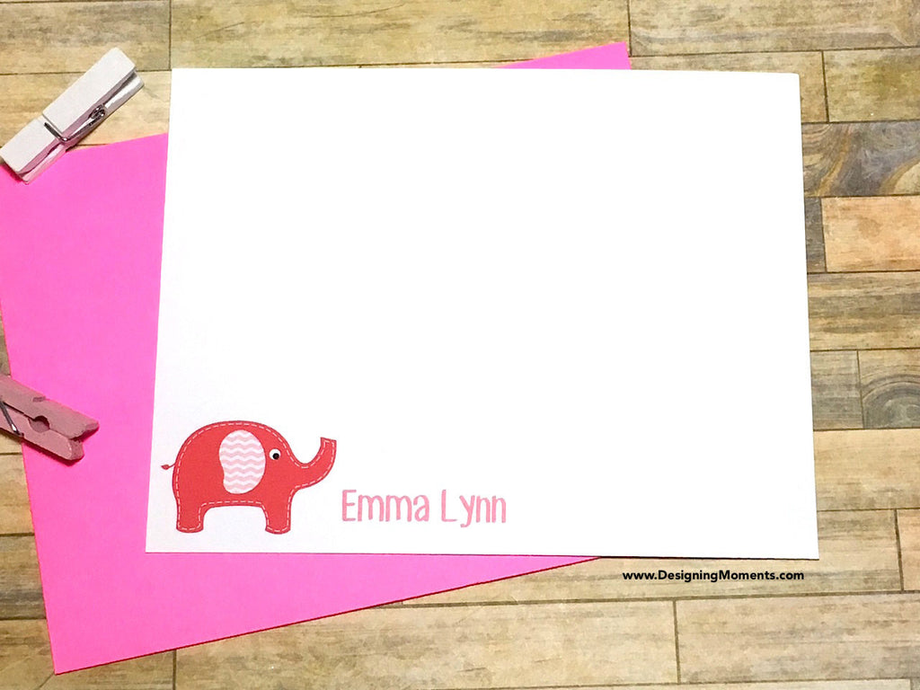Baby Elephant Pink Personalized Note Cards