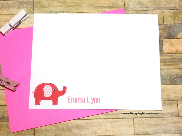 Baby Elephant Personalized Note Cards
