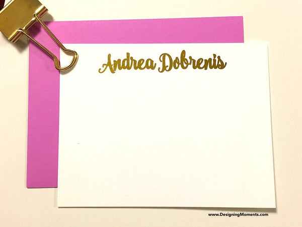 Personalized Foil Stationery Cards