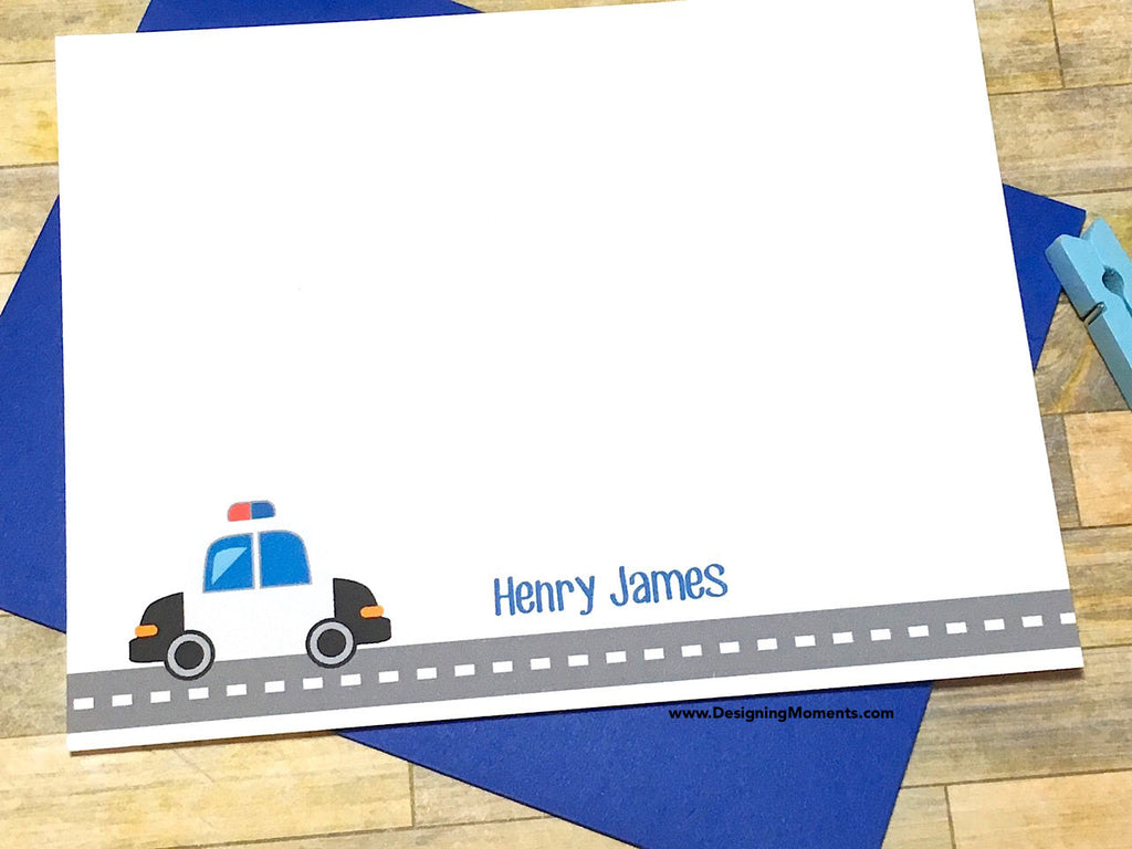 Police Car Personalized Note Cards