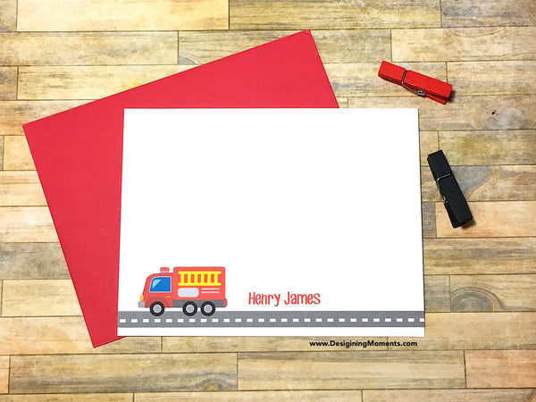 Fire Truck Personalized Note Cards