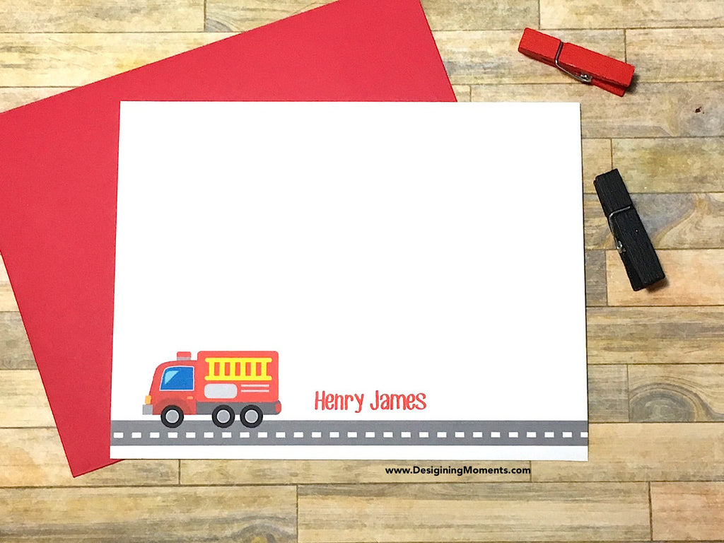 Boys Fire Truck Personalized Note Cards