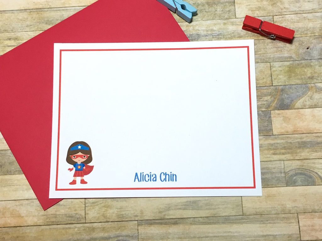 Red Girls Super Hero Personalized Note Cards