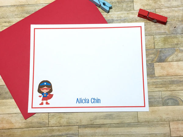 Girls Super Hero Personalized Note Cards