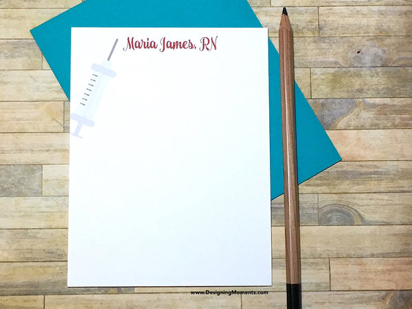 Syringe Personalized Note Cards for Nurse Medical Assistant
