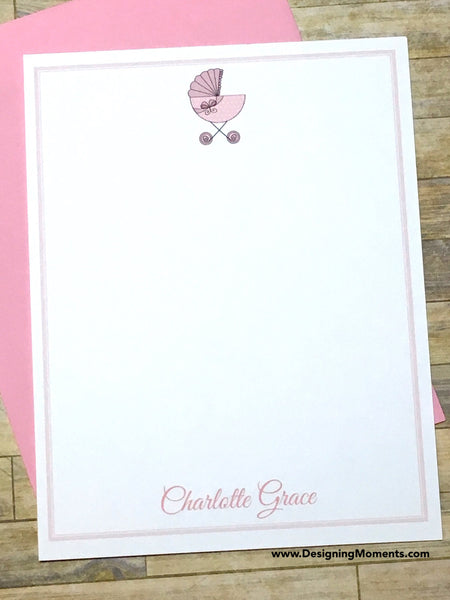 Baby Carriage Personalized Flat Cards Pink