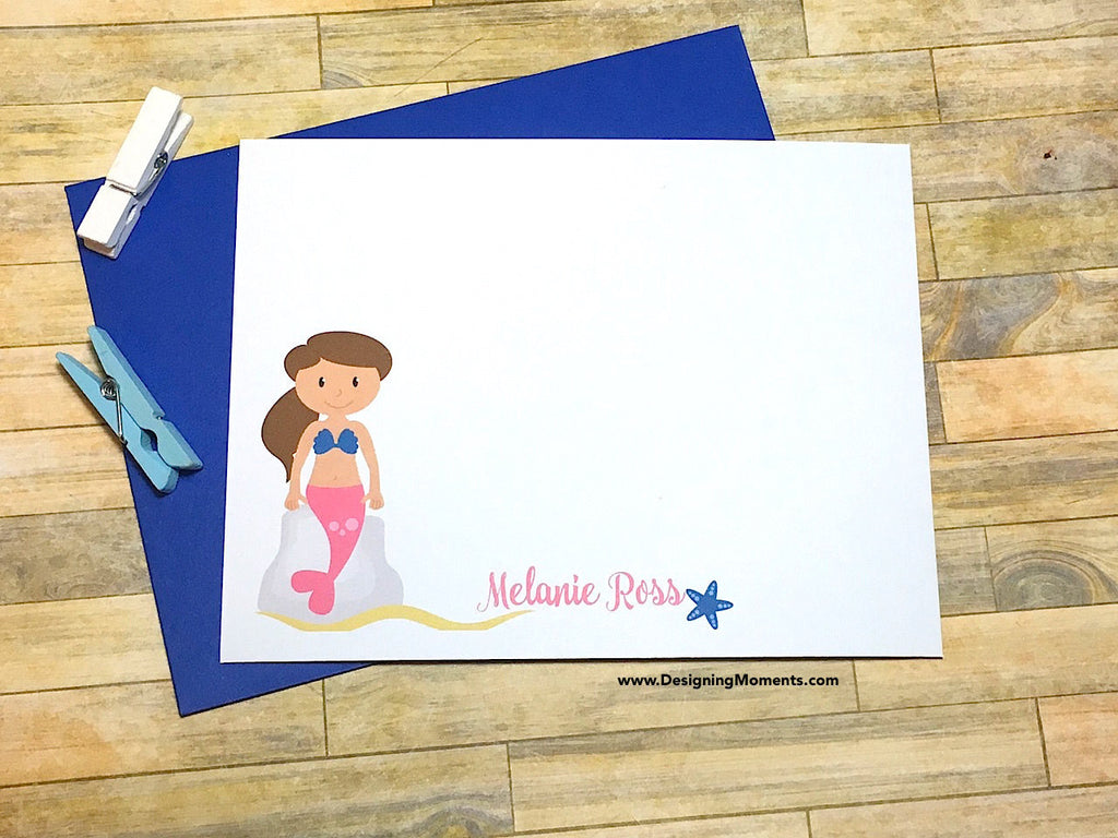 Mermaid Personalized Note Cards - Choose Your Hair Color