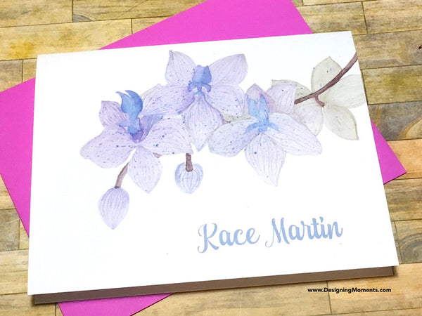 Watercolor Orchid Personalized Note Cards