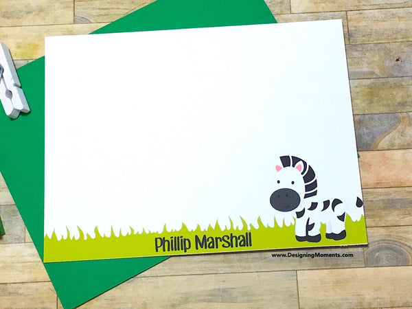 Personalized Zebra Flat Cards