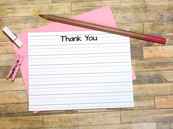 Lined Paper Thank You Cards