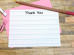 Childrens Lined Thank You Cards