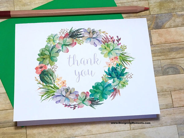 Succulent Wreath Thank You Cards