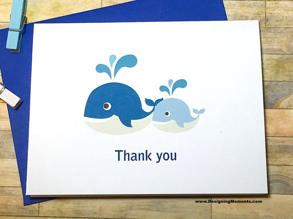 Whale Thank You Baby Shower Cards