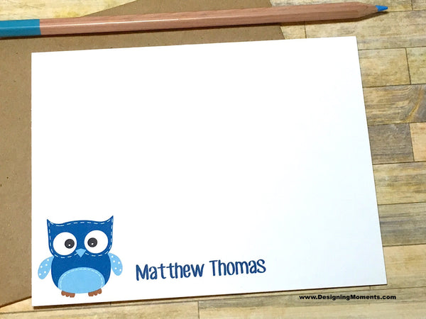 Blue Owl Personalized Note Cards