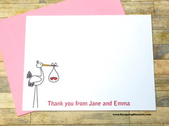 Stork Twins Personalized Thank You Cards