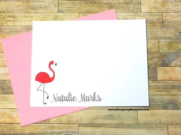 Pink Flamingo Personalized Note Cards