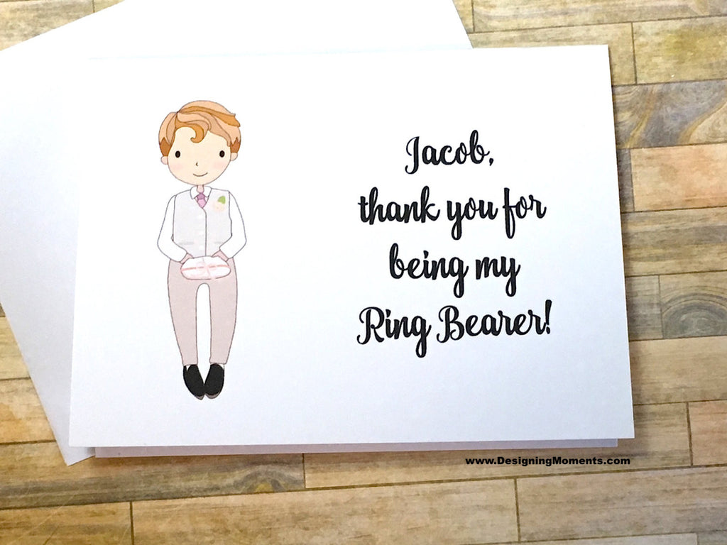Ring Bearer in White Suit Personalized Thank You Note Card