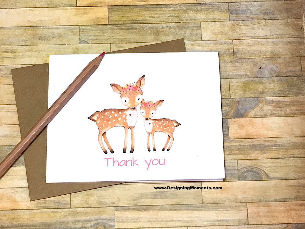 Doe and Baby Thank You Cards