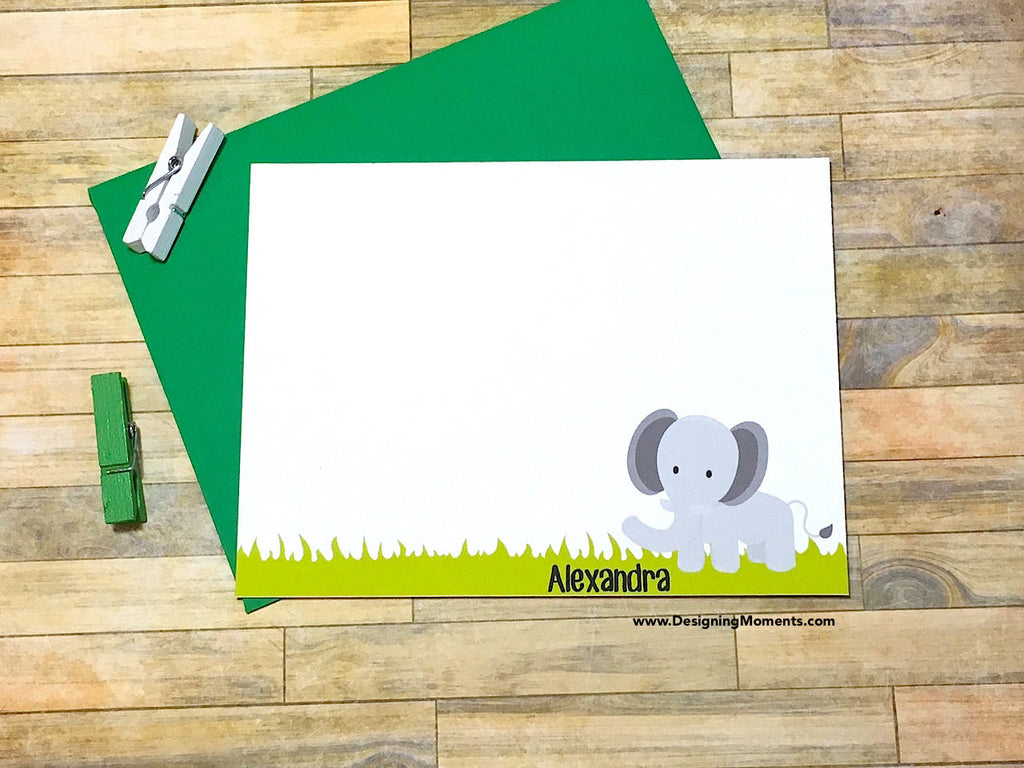 Elephant in a Field Personalized Note Cards