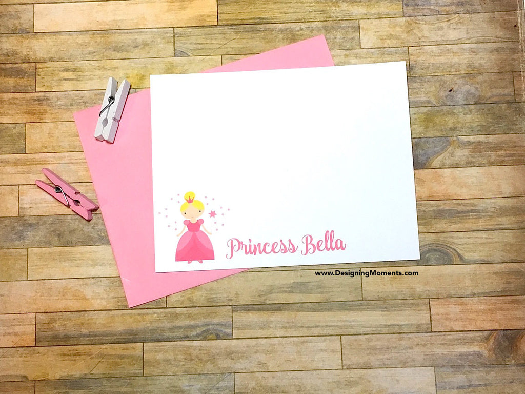 Pink Princess Personalized Flat Cards