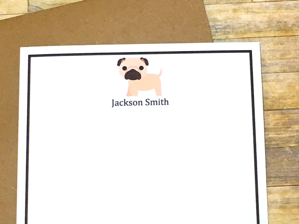 Pug Puppy Personalized Note Cards