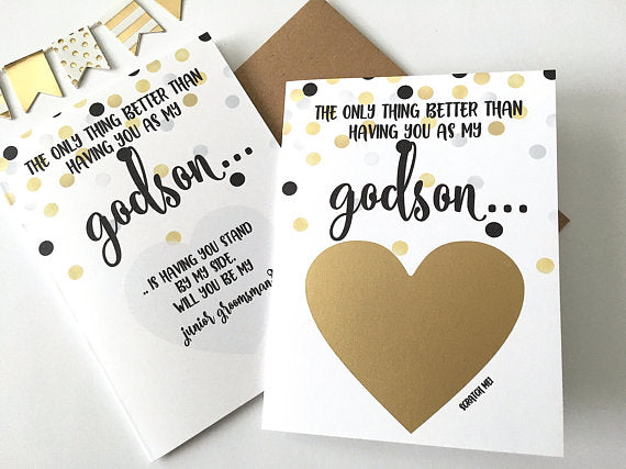 Godson Junior Groomsman Proposal Scratch Off Card