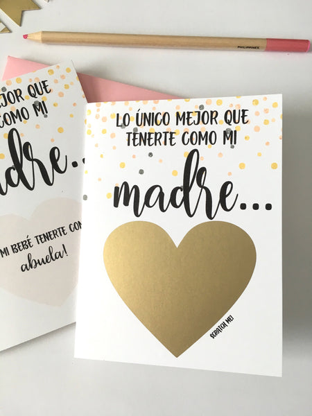 Confetti SPANISH Pregnancy Reveal Scratch Off Card for Madre