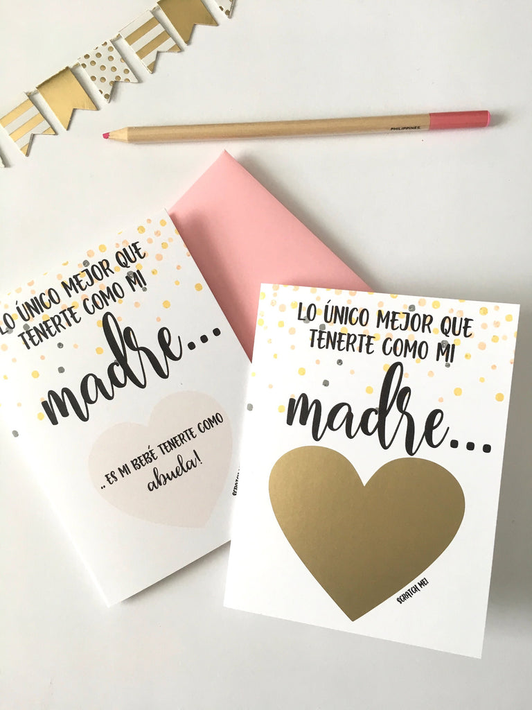 Madre to Abuela Spanish Pregnancy Reveal Scratch Off Card