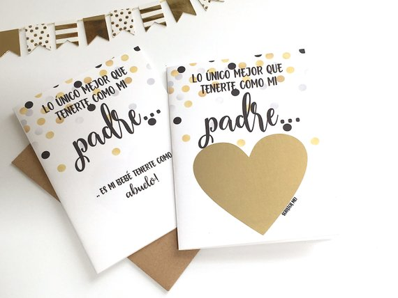 Confetti SPANISH Pregnancy Reveal Scratch Off Card for Padre