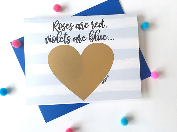Roses Are Red Pregnancy Poem Scratch Off Card for New Daddy