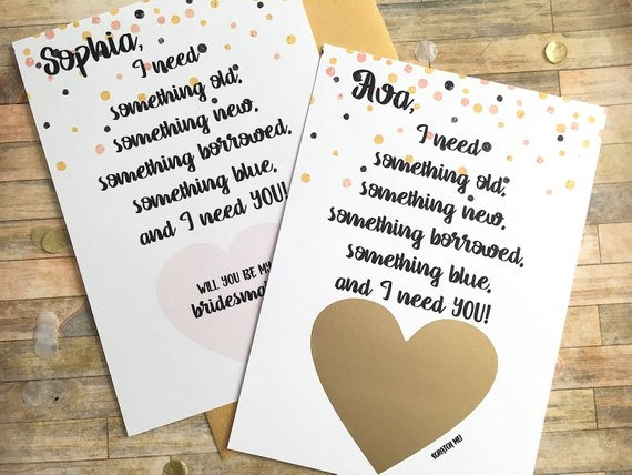 Old New Borrowed Blue Personalized Bridesmaid Scratch Off Proposal