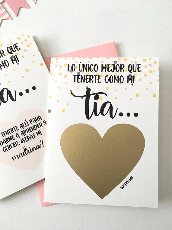 Tia to Madrina Spanish Godmother Proposal Scratch Off Card