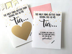 Tia to Godmother Proposal Scratch Off Card Spanish