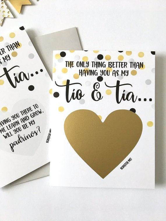 Tia and Tio Godparents Proposal Scratch Off Card