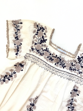 Oaxaca - Cap Sleeve (Ivory with Blue and Taupe)
