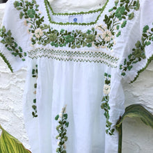 Oaxaca - Cap Sleeve (Ivory with Multi Green)