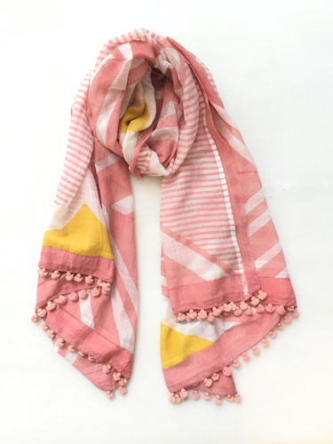 Block Print Scarf - Flamingo and Lemon