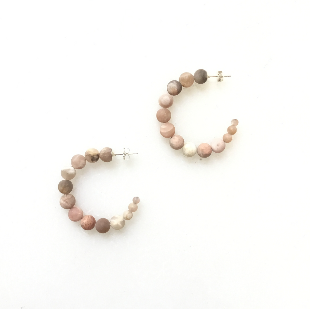 Pink Matt Sunstone - Small  Hoops