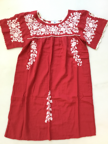 Oaxaca Dress - Split Sleeve ( Red with Ivory)