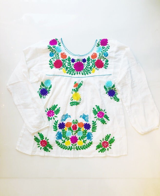 Oaxaca - Long Sleeve (White with Multi)