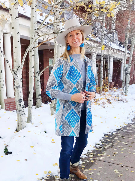 Silk Ikat Coat - Grey / Ice Blue