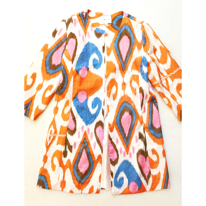 Silk Ikat Coat - Orange/Multi