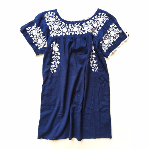 Oaxaca Dress - Split Sleeve (navy with white)