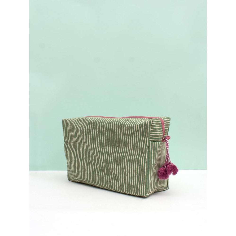 Washbag - Green Stripe