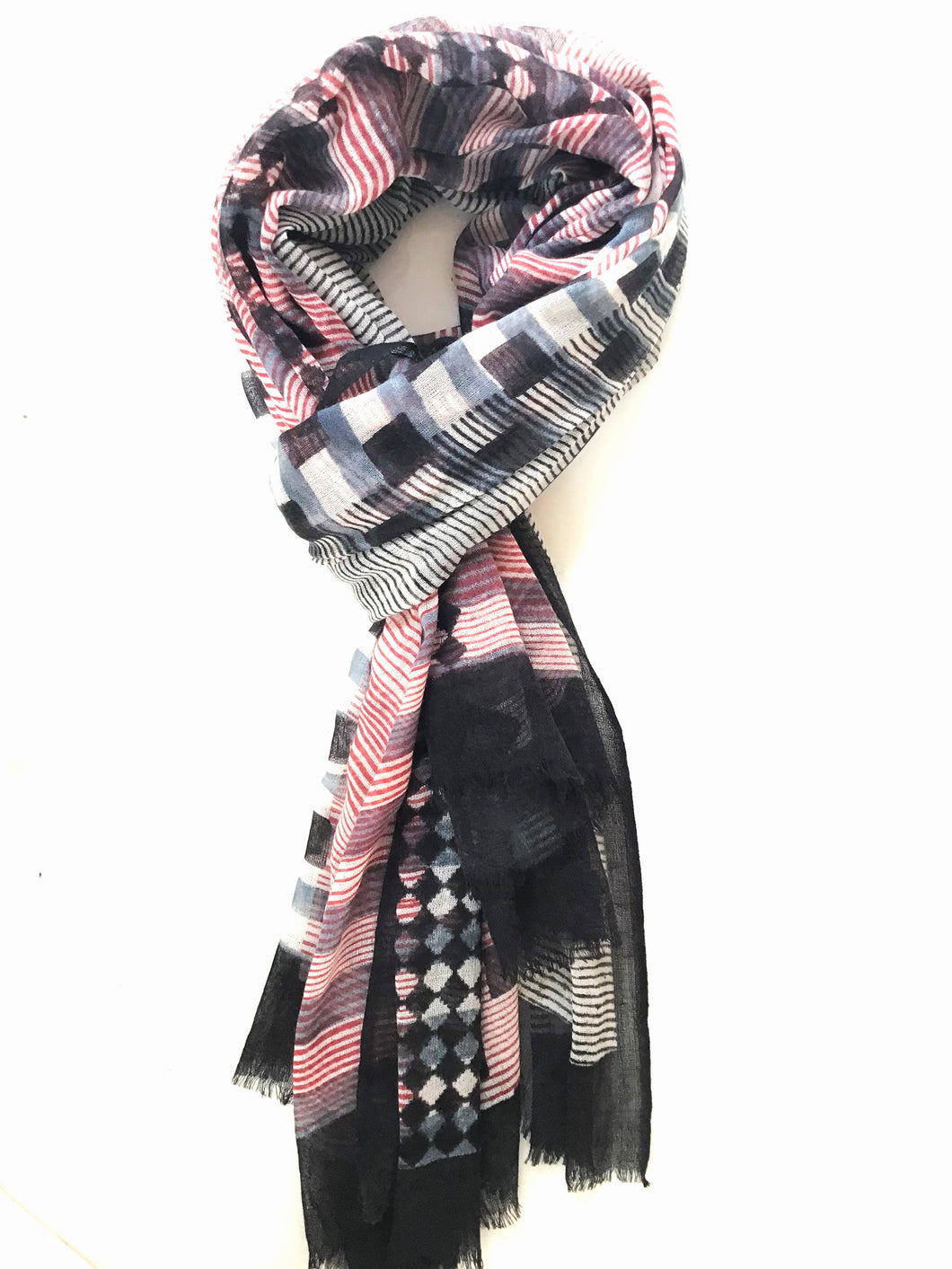Block Print Scarf - Black and Red