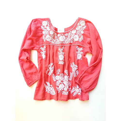 Oaxaca - Long Sleeve (coral with ivory)