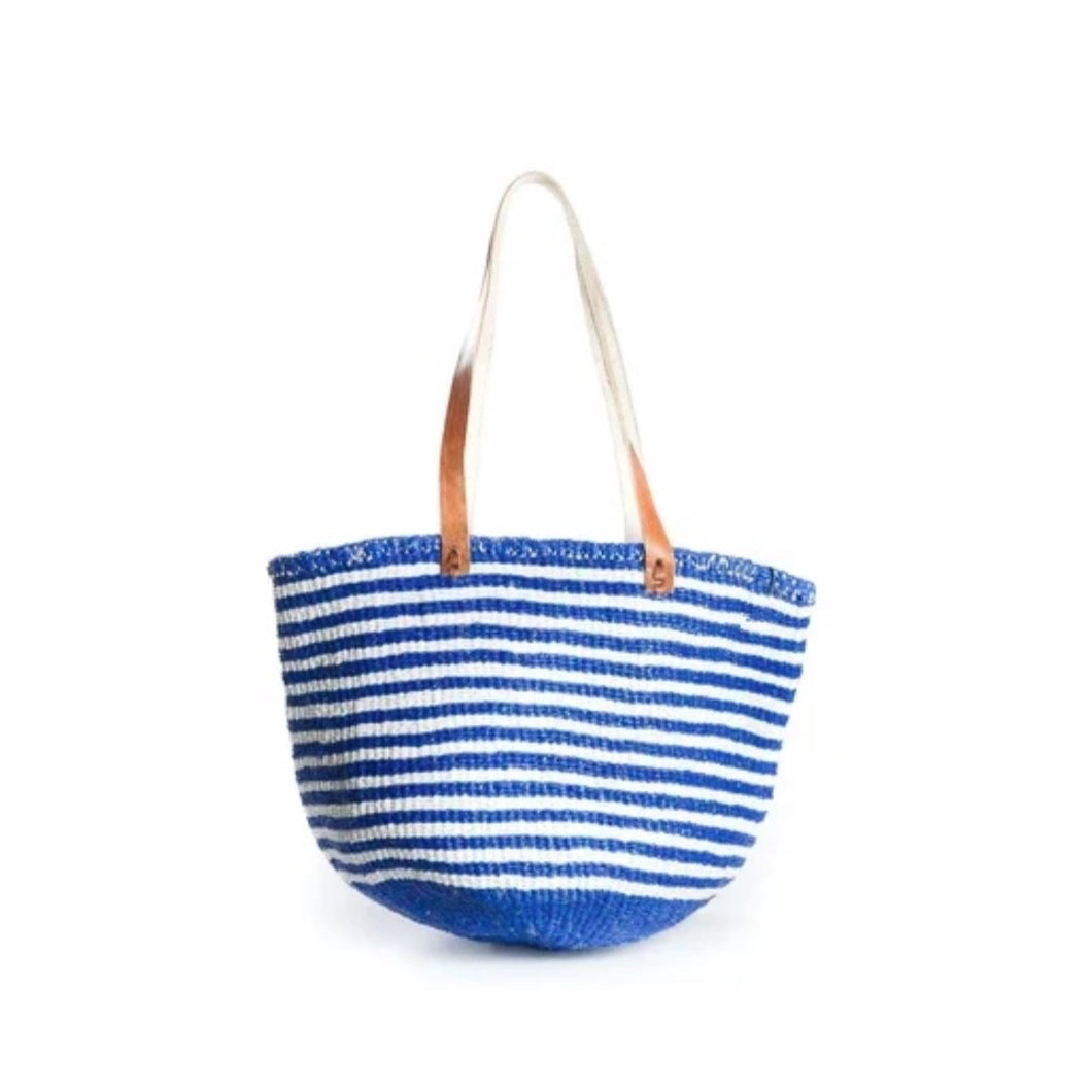 Blue and White MultiStripe Shoulder Bag - Medium