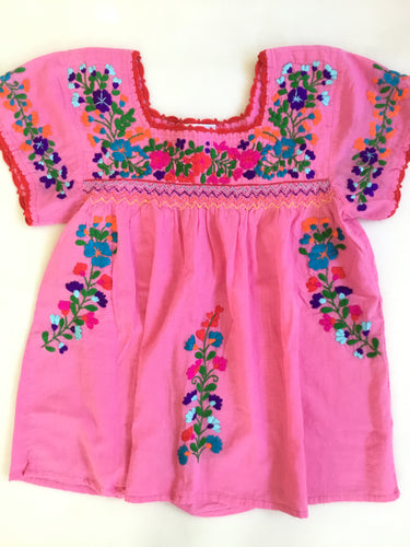 Oaxaca Cap Sleeve - Pink (Hot Pink with Multi)