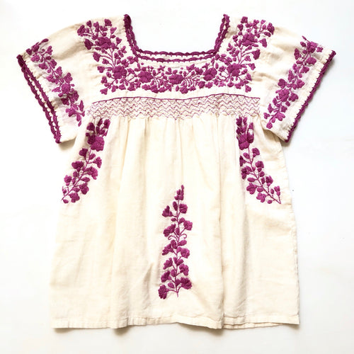 Oaxaca - Cap Sleeve (Ivory with Berry)