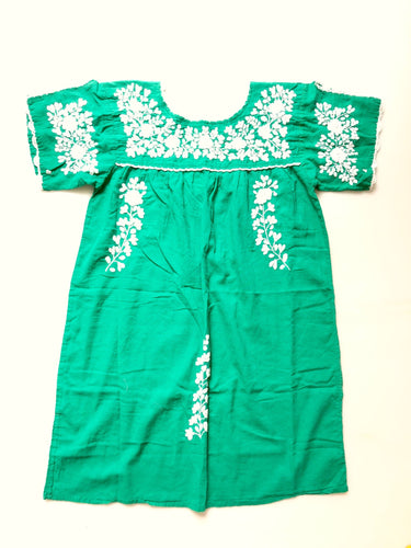 Oaxaca Dress - Split Sleeve (Green with White)